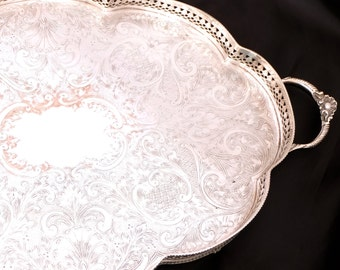 Large Silver Plated Tray, Silver Gallery Tray with Handles, Chashed Silver Drinks Tray, Silver Downton Abbey Table Tray, Butlers Tray
