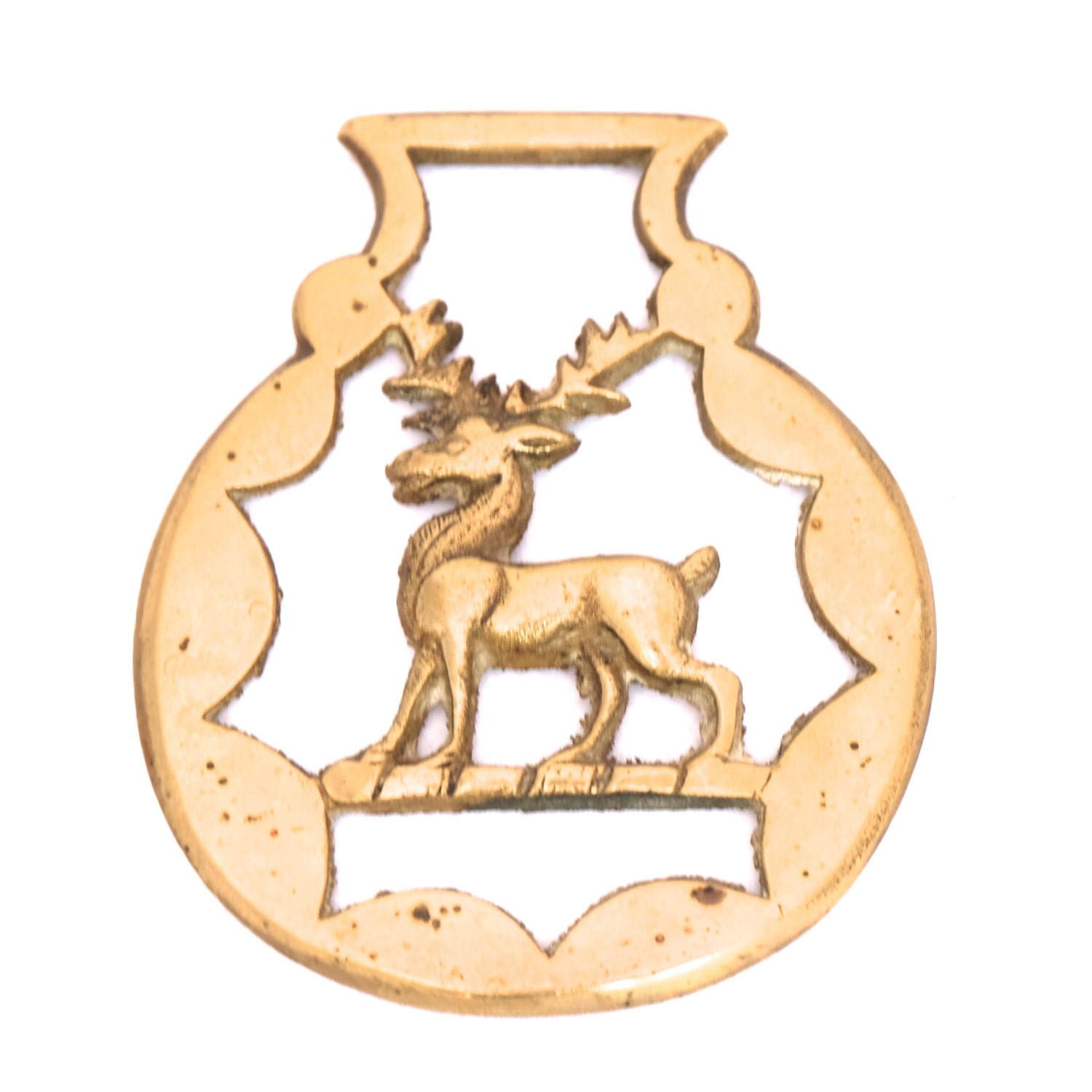 FREE SHIPPING Vintage Horse Brass Stag, English Brsss Stag ...