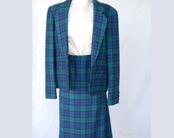 SEXY 50% OFF SALE Posh Pure Virgin Wool Authentic Green Blue and Black Watch Tartan Plaid Secretary Suit by Pendleton made in Usa size 12-14
