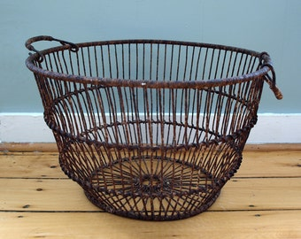 Large Maine Oyster Basket in Wrapped Metal Wire - Antique