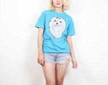 Vintage Maltese Air Brush Print Tshirt 1980s Teal Blue OOAK Screen Stars T Shirt Worn 80s Tee White Puppy Dog Novelty Top S Small M Medium