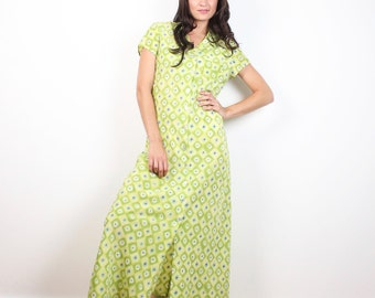 Vintage 90s Dress Lime Green Daisy Floral Print Maxi Dress Button Front Shirtdress 1990s Dress Soft Grunge Rave Daisies Shirt Dress L Large
