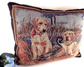 Accent Pillow Designer James Killen Hunting Dogs Golden Retriever and Duck Woven Tapestry 12 x 15 Masculine Lodge Cabin Vintage Home Decor