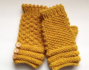 Gold Fingerless Gloves, Hand Warmers with buttons, Texting Gloves, Knit Wrist Warmers, Women's Gloves, Walking Gloves, Exercise Mittens