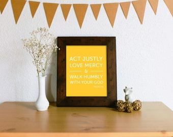 Micah 6:8 Act Justly, Love Mercy, Walk Humbly Verse Art Print - Mustard Yellow