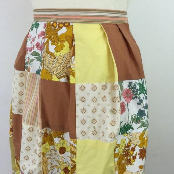 "vintage skirt patchwork cotton skirt high waisted plus size vintage 40"" waist UK 22 24 novelty print flared skirt pleated 1960s 1970s"