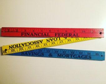 Wood folding ruler in primary colors, vintage ruler, measuring stick