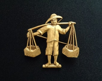 P E M Peabody Essex Museum Figural Chinese Asian Farmworker Farmer Man Carrying Pole Baskets Goldtone Pin Brooch Absolutely Beautiful Detail
