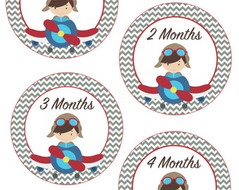 Airplane Monthly Baby Stickers