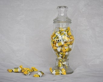 Vintage Apothecary Jar - Vitamin Jar - Vitamin Container - Glass Canister - Bathroom Canister - Vintage Glass Candy Jar - Glass Storage Jar