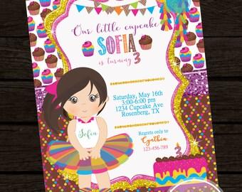 Cupcake Girl Tutu Birthday Invitation, Cupcake birthday invite- YOU PRINT