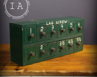 Vintage Industrial Green Handmade Wooden 12 Drawer Small Parts Storage Cabinet