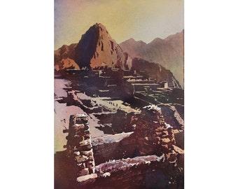 Macchu Picchu- Sacred Valley, Peru.  Machu Picchu wall art painting fine watercolor.  Incan ruins of Machu Picchu watercolor painting art