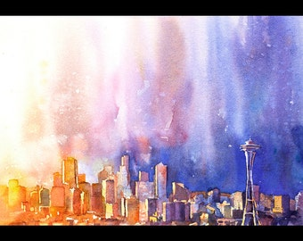 Space Needle & downtown skyscrapers  of Seattle, Washington at sunset.  Seattle artwork.  Watercolor painting Seattle.  Seattle art
