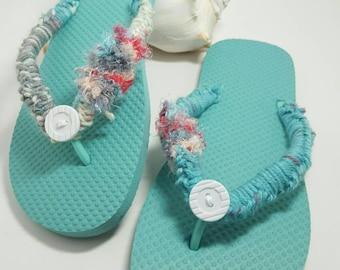 Crochet button flip flops.