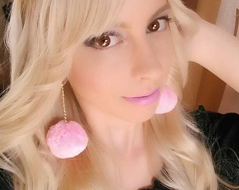 Cute / kawaii earrings  pom pom pink with golden chain, antialergic