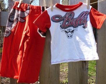 Chicago Bulls NBA Basketball Children's Upcycled/recycled Pajama/Lounge pants - 2t toddler