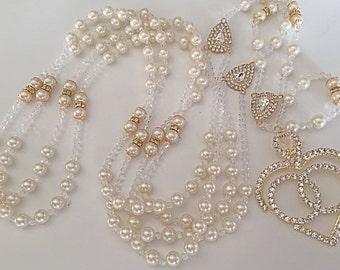 Swarovski Pearls Wedding lasso cream Ivory color/ lazo para boda en perlas cremita./ wedding lazo/ ivory pearls lasso