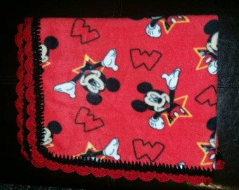 Mouse fleece baby tag along security blanket, lovey with crochet edging, Personalized