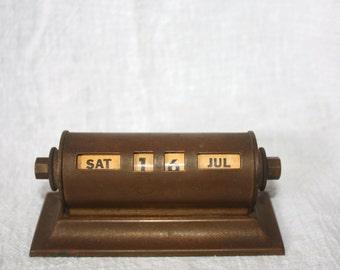 Vintage Brass Deco Style 1930s Perpetual Desk Calendar
