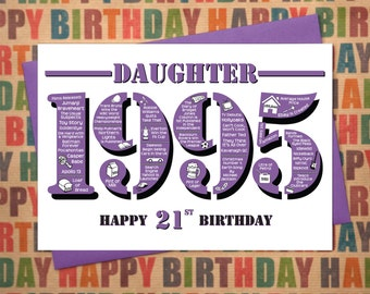 Happy 21st Birthday Daughter Greetings Card - Born In 1995 British Facts A5 Female / Womens