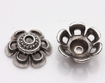 10 pcs Tibet Silver Loose Spacer Bead Caps,size 10x5mm.Good for pendant,bracelet,earrings.Free USA shipping!