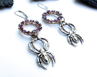 Spider Earrings Victorian gothic earrings Purple Rhinestone earrings