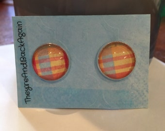 16mm Round Silver Colorful Large Plaid Earrings