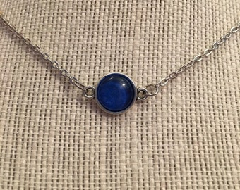 "16"" Blue&Silver Cabochon Necklace"