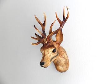 Deer - decorative wall - deer head trophy, made in France 1970s