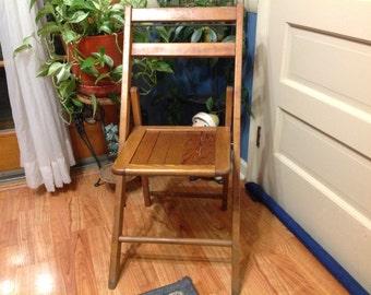 Wood Folding Chair Vintage Wood Chair