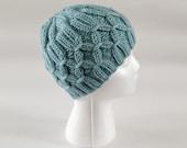 Hand knit hat, seafoam green, womens knit hats, smocking design, ladies hat, womens beanie hat, womens winter hat, winter accessories, toque