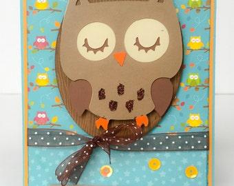 Handmade Card, Owl Card, Love Card, Valentines Day Card, Friendship Card, Owls, Animal Card, Childrens Card, Kids Card, Kids Valentine