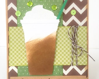 Mother's Day Card, Coffee Card, Mothers Day Coffee Card, Best Mom, Coffee Lover Mom, Moms Coffee, Handmade Mothers Day Card Frappichino Card