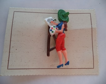 Vintage Fabulous Original 40/50s Celluloid or Plastic Artist at Work Brooch/Pin