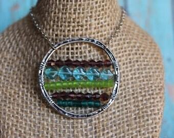Horizon Necklace - Beaded Medallion Pendant - Balance Necklace - Beaded Boho Necklace - Beaded Jewelry - Bohemian Jewelry - Silver Necklace