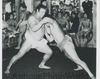 Sumo wrestlers in action antique photo Japan