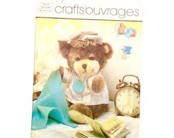 Simplicity 7637, Teddy Bear Pattern, Teddy Beddy Bear with Clothes, Blue Ink Transfer, Stuffed Bear, Vintage Uncut Pattern
