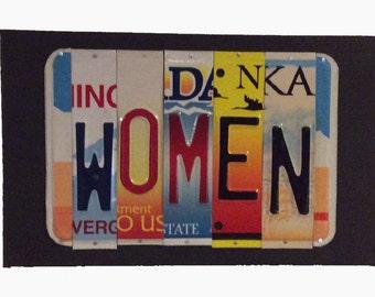 License Plate Sign License Plate letter Art Picture Home Deco WOMEN License Plate Letter Sign License Plate Art