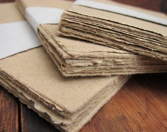 "Brown Handmade paper sheets, Recycled paper, Rustic Homemade paper, Eco friendly paper, Natural Invitation paper, 4 1/4"" x 6"" (10.5 x 15cm)"