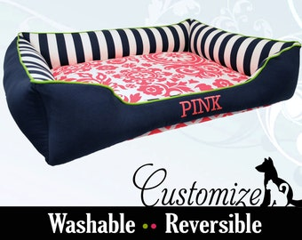 X-Large Dog Bed | Fun Pink & Navy Custom Dog Bed | Extra Large | You Design it, We Create It!