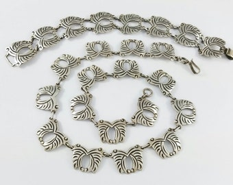Vintage OCAMPO Mexican 925 Sterling Silver Necklace and Bracelet Taxco Mexico Pre-Eagle