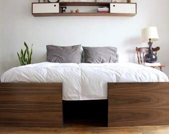 Modern Walnut Bed, Queen