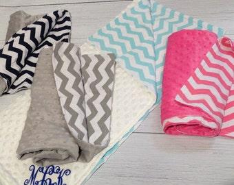Monogram Minky Baby Blanket/Chevron and Minky Baby Blanket
