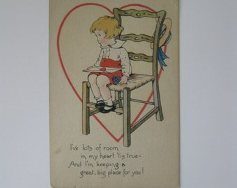 Valentine's Day Vintage Post Card - I've Lots of Room In My Heart Tis True - The Gibson Art Co - Used - 1910s