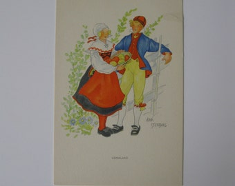 Aina Stenberg - Artist Signed Post Card - Varmland, Sweden - Traditionally Dressed Couple - Unused - 1920s