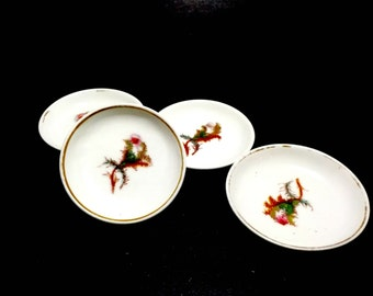 Haviland Limoges Butter Pats, Set of 4, Unique Pattern, Very Old Small Butter Plates Dishes