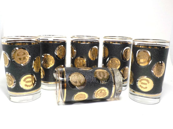 Barware Highballs Glasses Black and Gold Coins Set of 6 Matte Black Mid Century Mad Men Retro Barware