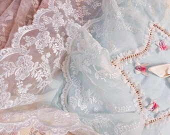 One-Of-A-Kind! Antique Wedding Ring Bearers Pillow! Robin's Egg Blue, Absolutely Gorgeous! Romantic Ruffles and Snowy White Tambour Lace