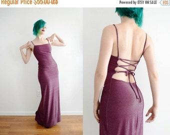 SALE 90s Grape Lurex Bodycon Maxi Dress Spaghetti Strap Full Length Formal Evening Gown Prom // Xs Small
